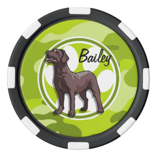 Chocolate Lab; bright green camo, camouflage Poker Chips