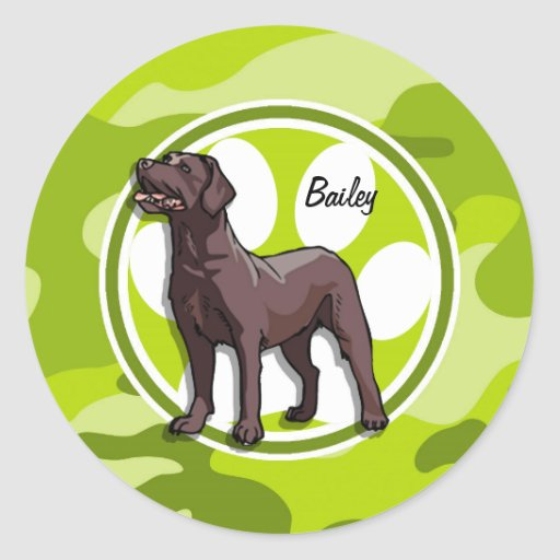 Chocolate Lab; bright green camo, camouflage Stickers