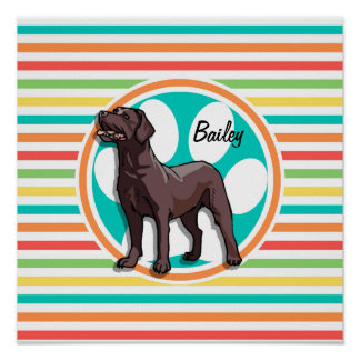 Chocolate Lab Bright Rainbow Stripes Posters