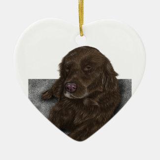 Chocolate Lab Ceramic Heart Ornament