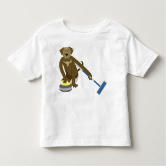 Chocolate Lab Curling Toddler T-shirt
