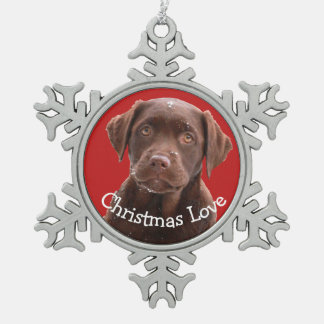 Chocolate Lab Dog Puppy Pet Canine Christmas Love Snowflake Pewter Christmas Ornament