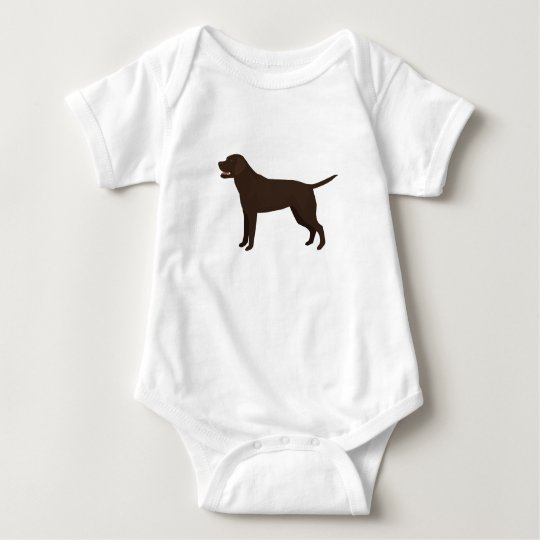 Chocolate Lab - Labrador Retriever Breed Silhouett Baby Bodysuit