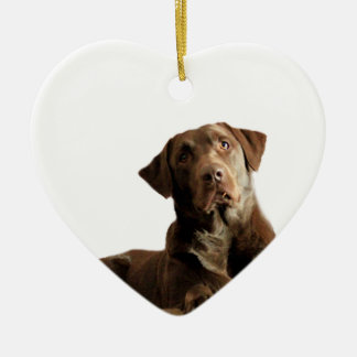 Chocolate Lab Laying Lounging on the word DOG Ceramic Heart Ornament