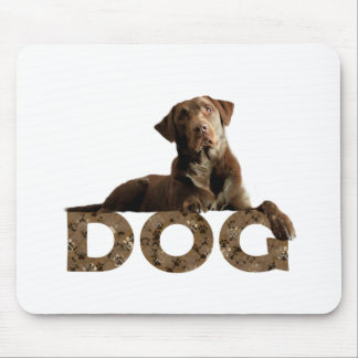 Chocolate Lab Laying Lounging on the word DOG Mouse Pad