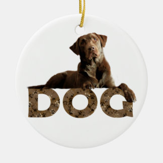 Chocolate Lab Laying Lounging on the word DOG Round Ceramic Ornament