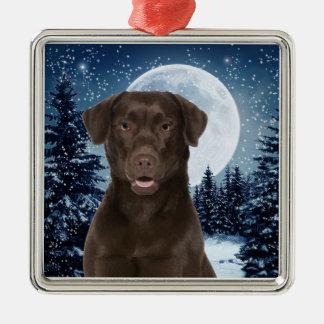Chocolate Lab Metal Ornament
