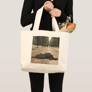 Chocolate Lab On A Forest Trail Large Tote Bag