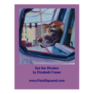 Chocolate Lab • Out the Window • Painting Postcard
