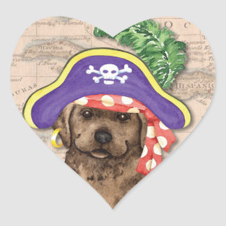 Chocolate Lab Pirate Heart Sticker