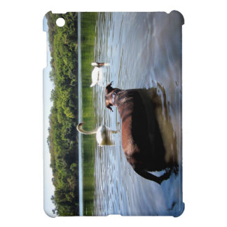 Chocolate Lab Pit Mix Dog Swimming With Swans Case For The iPad Mini