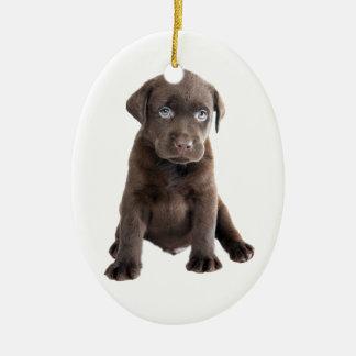 Chocolate Lab Puppy Ceramic Oval Ornament