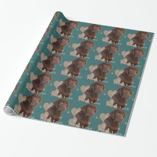 Chocolate Lab Puppy Love Wrapping Paper