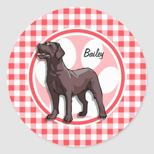 Chocolate Lab; Red and White Gingham Round Sticker