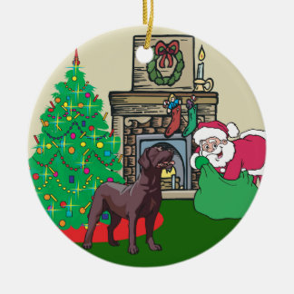 Chocolate Lab Santas Gift Round Ceramic Ornament
