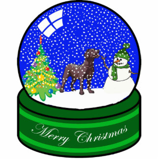 chocolate lab snow globe photo sculpture ornament