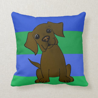 Chocolate Lab Striped Throw Pillow