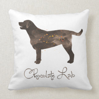 Chocolate Lab Watercolor Design Throw Pillow