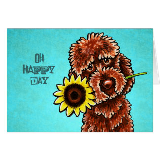 Chocolate Labradoodle Happy Sunflower Day Custom Card