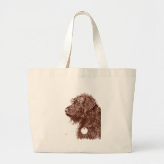 Chocolate Labradoodle Large Tote Bag