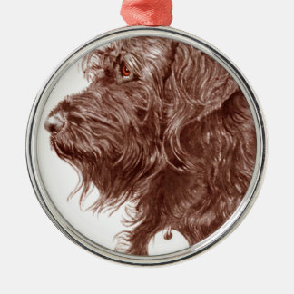 Chocolate Labradoodle Metal Ornament