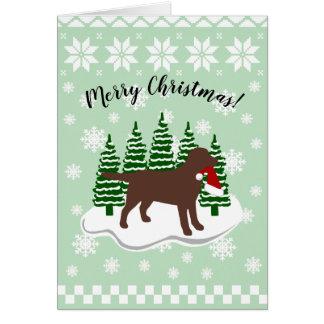 Chocolate Labrador Christmas Evergreen Snowflakes Card