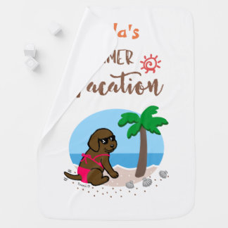 Chocolate Labrador Girl Summer Vacation Blanket