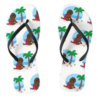 Chocolate Labrador Girl Summer Vacation Flip Flops