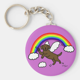 Chocolate Labrador Guardian Angel (Rainbow Bridge) Basic Round Button Keychain