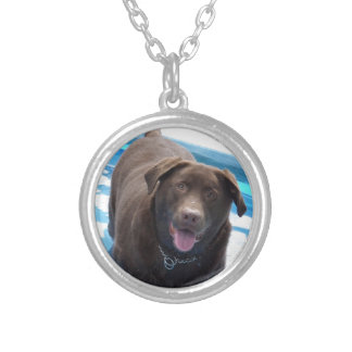 Chocolate Labrador having fun in a swimming pool Silver Plated Necklace