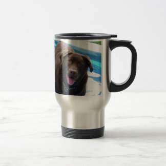 Chocolate Labrador having fun in a swimming pool Travel Mug