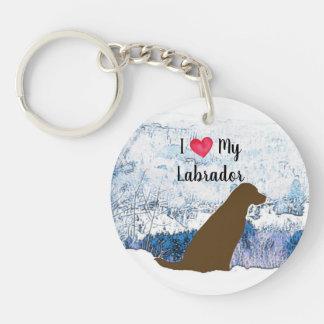 Chocolate Labrador - I Love My Labrador Keychain
