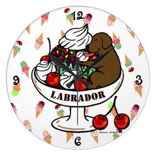 Chocolate Labrador & Ice Cream Sundae Large Clock