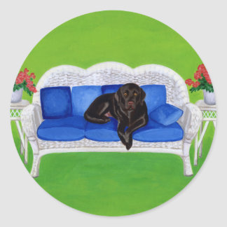Chocolate Labrador on the Wicker Couch Round Sticker