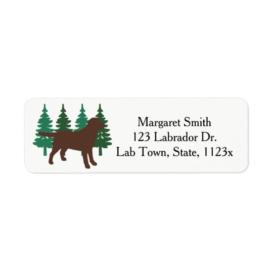 Chocolate Labrador Outline Evergreen Trees Four Return Address Label