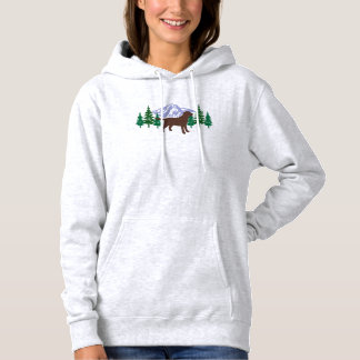 Chocolate Labrador Outline Evergreen Trees Hoodie