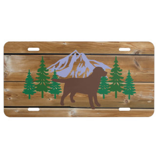 Chocolate Labrador Outline Evergreen Trees license License Plate