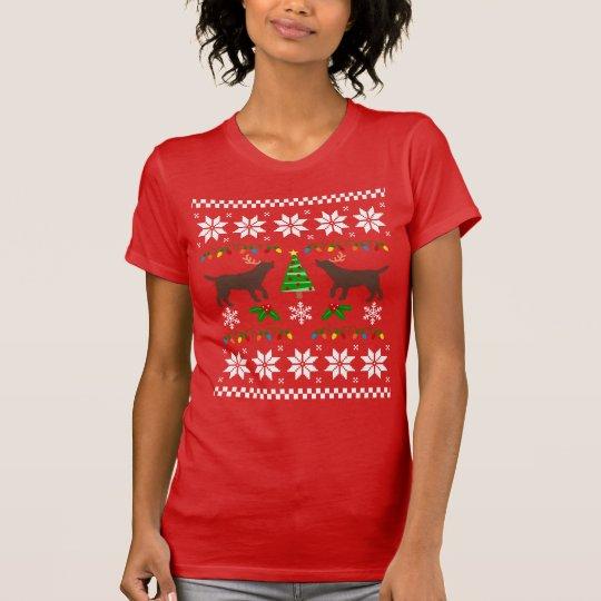 Chocolate Labrador Outline Ugly Christmas T-shirt