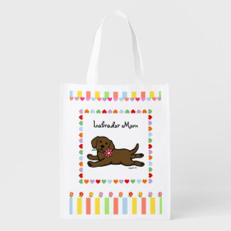 Chocolate Labrador Puppy Cartoon Reusable Grocery Bag