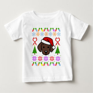 Chocolate Labrador Puppy Christmas Pattern Baby T-Shirt