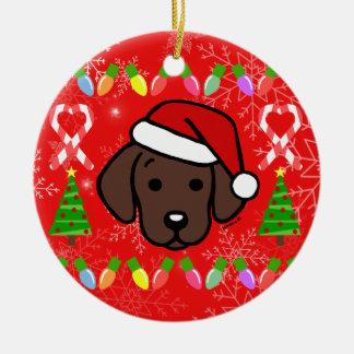 Chocolate Labrador Puppy Christmas Pattern Ceramic Ornament