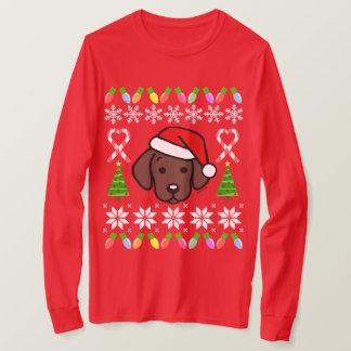 Chocolate Labrador Puppy Christmas Pattern T-Shirt