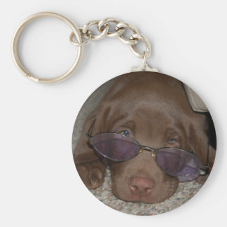 Chocolate Labrador Puppy Keychain