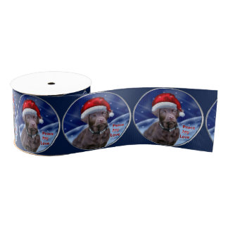 Chocolate Labrador Retriever Christmas Grosgrain Ribbon