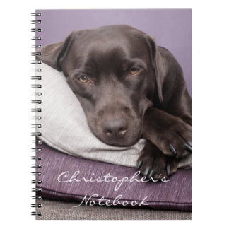 Chocolate labrador retriever dog custom boys name notebook