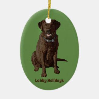 Chocolate Labrador Retriever Dog Sitting Ceramic Ornament