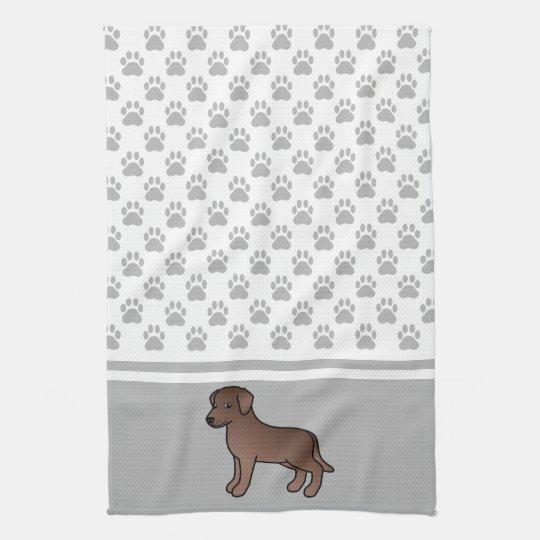 Chocolate Labrador Retriever & Grey Paws Pattern Hand Towels
