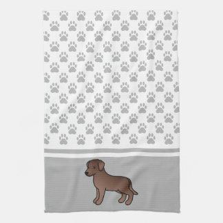 Chocolate Labrador Retriever & Grey Paws Pattern Kitchen Towel