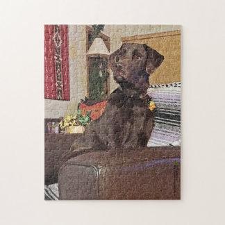 Chocolate Labrador Retriever On Chair Puzzles