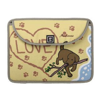 Chocolate Labrador Sand Letters Cartoon Sleeve For MacBooks